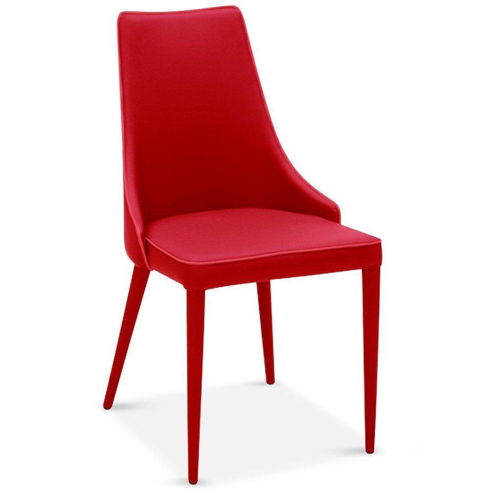 Chaises tables et chaises lot de 4 chaises drogo rouges for Chaise design rouge