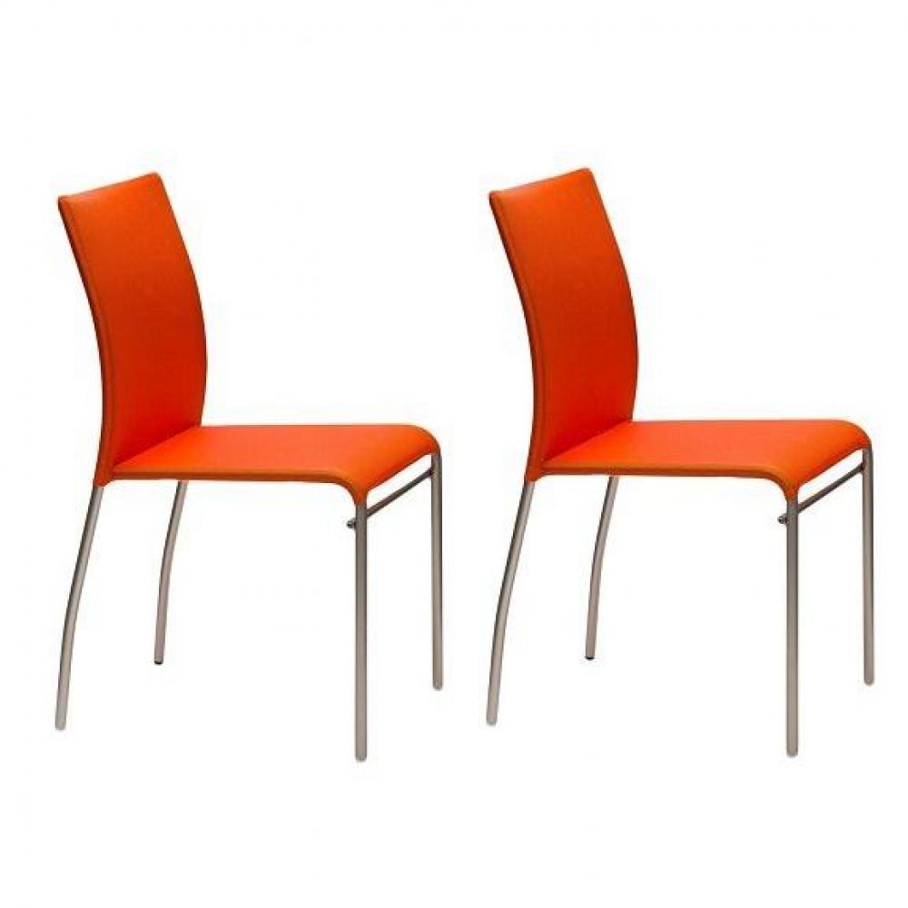 chaises tables et chaises lot de 2 chaises matrix design orange inside75. Black Bedroom Furniture Sets. Home Design Ideas