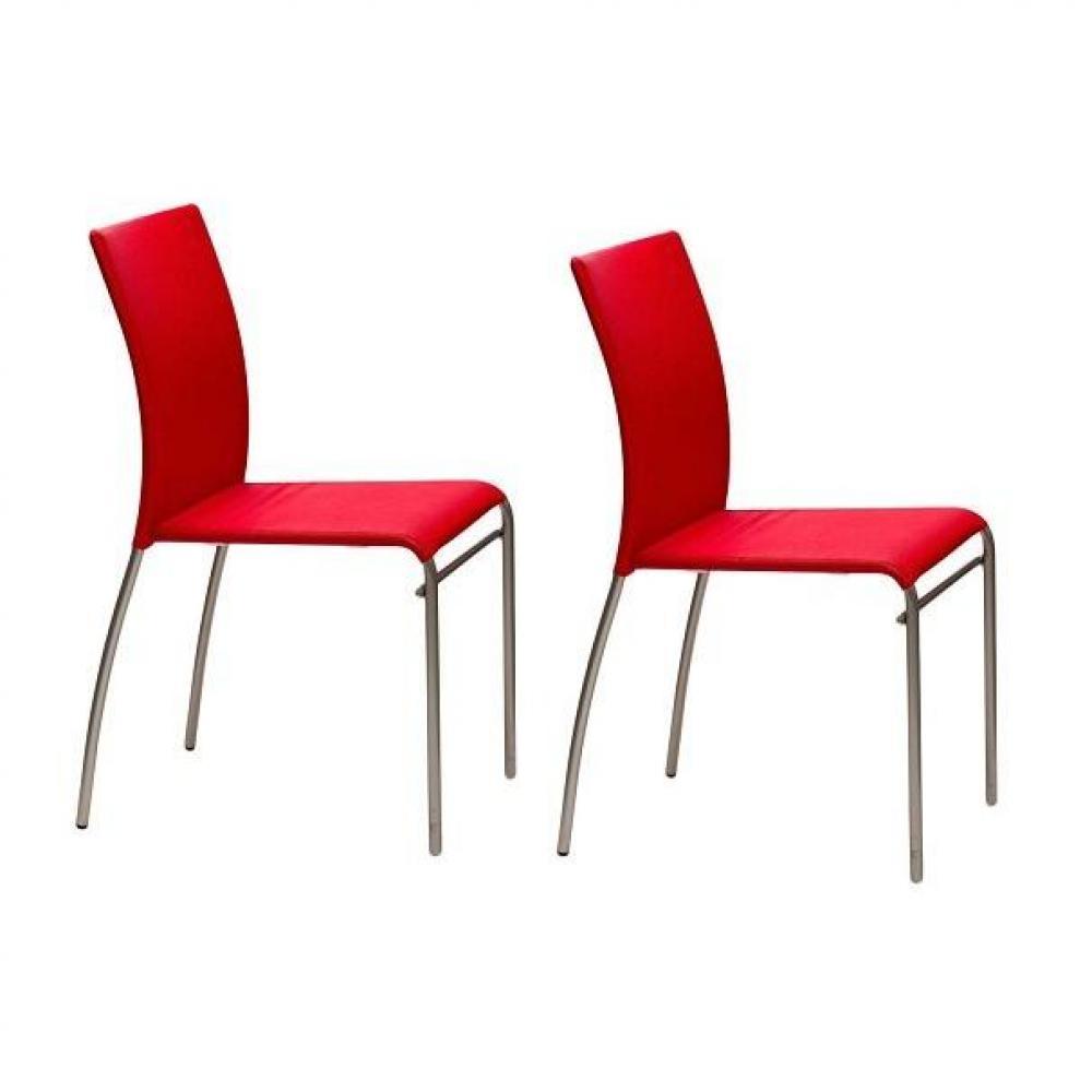Chaises tables et chaises lot de 2 chaises matrix design for Chaise design rouge