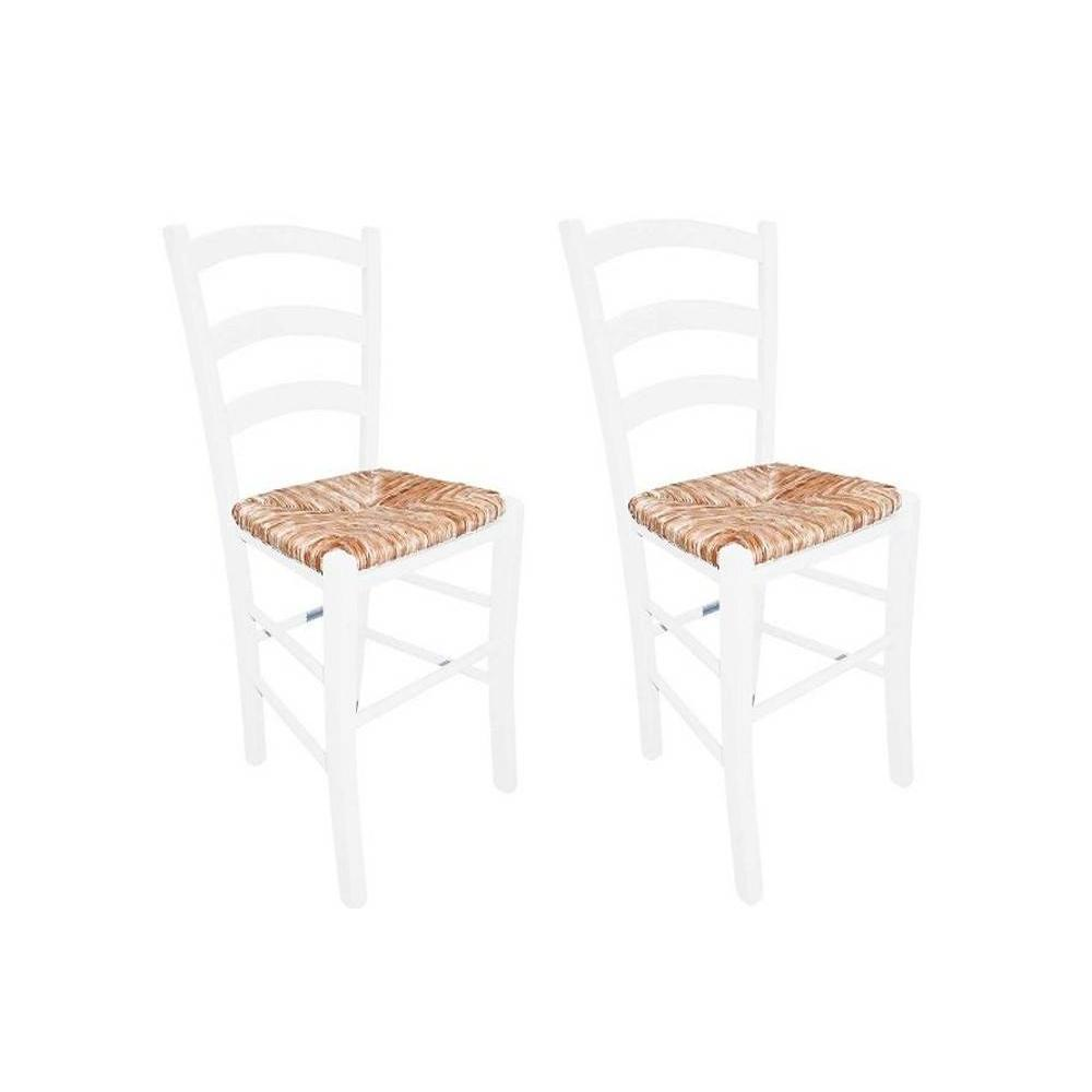chaises tables et chaises lot de 2 chaises paesana design laqu blanc assise en paille inside75. Black Bedroom Furniture Sets. Home Design Ideas