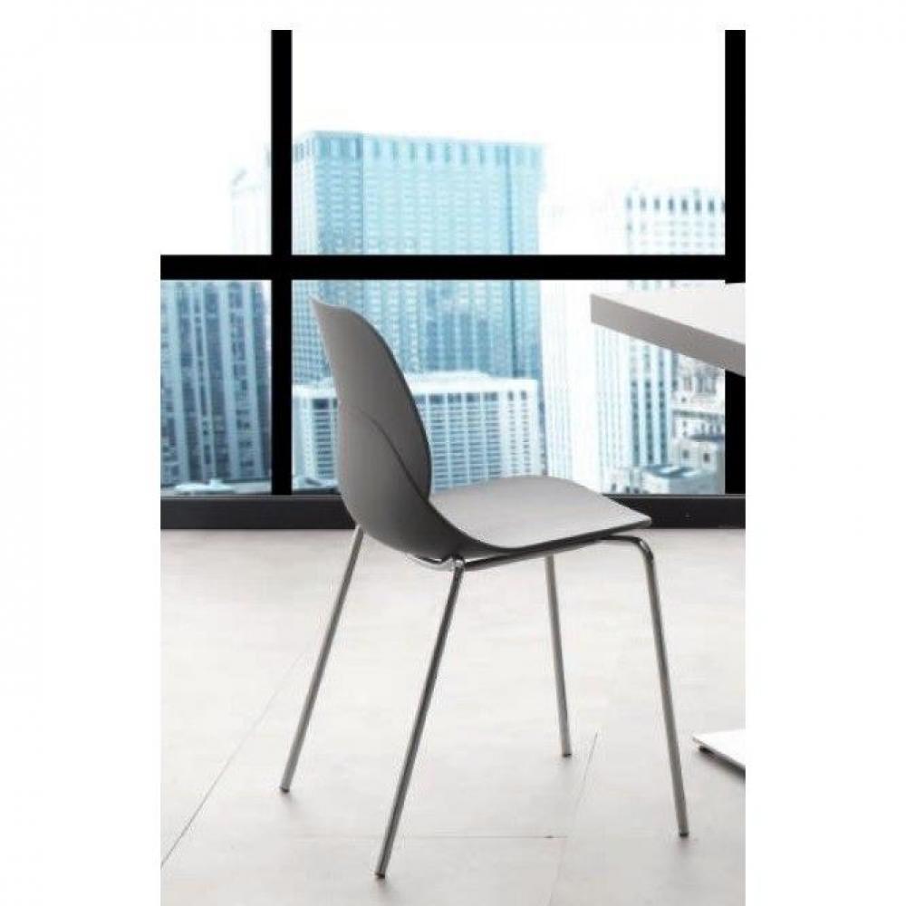 chaises tables et chaises chaises shell metal design gris inside75. Black Bedroom Furniture Sets. Home Design Ideas