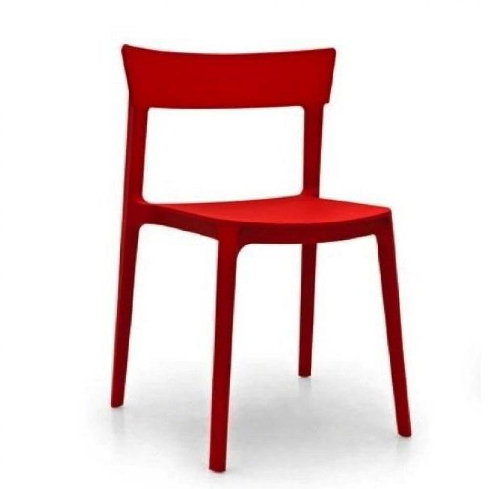 Chaises meubles et rangements chaise design calligaris skin en plastique ro - Chaise plastique rouge ...