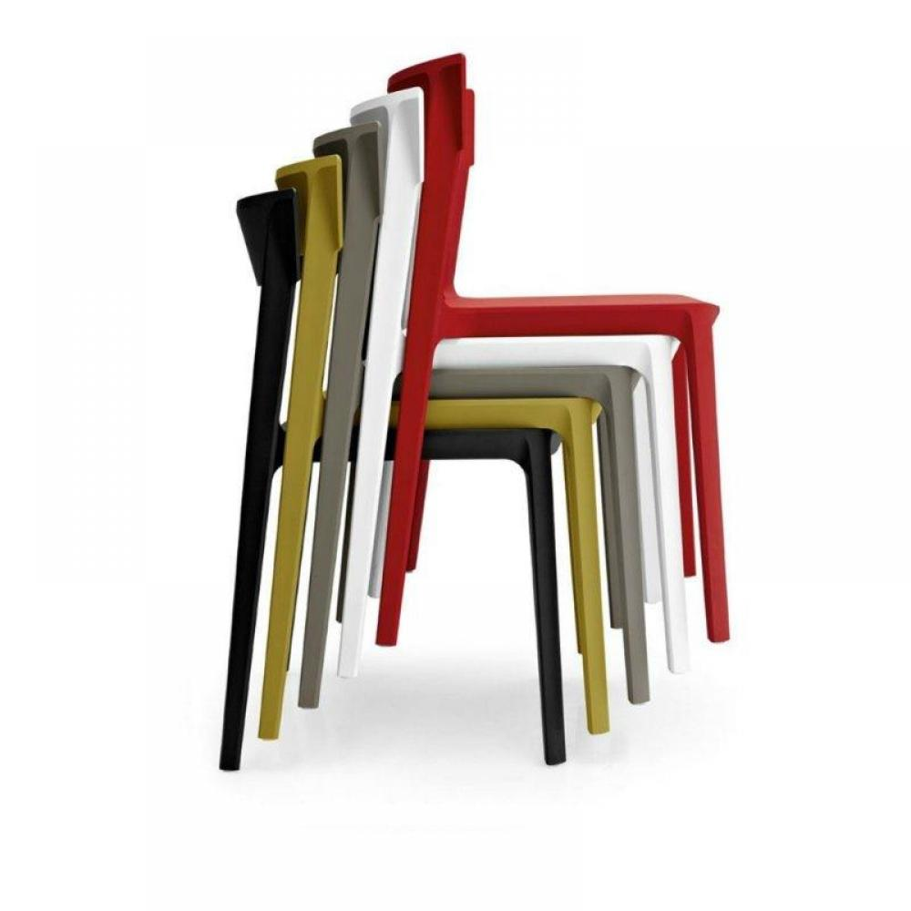 Chaise Design Calligaris Skin En Plastique Rouge