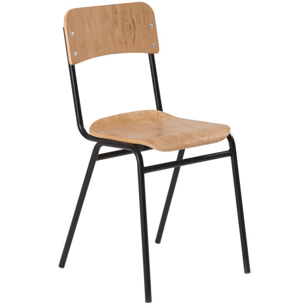 Chaises tables et chaises chaise ecolier noir et bois for Chaise noir bois