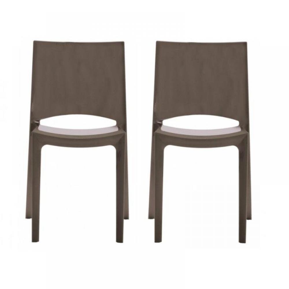 chaises tables et chaises lot de 2 chaises sunshine empilables design marron brillant inside75. Black Bedroom Furniture Sets. Home Design Ideas