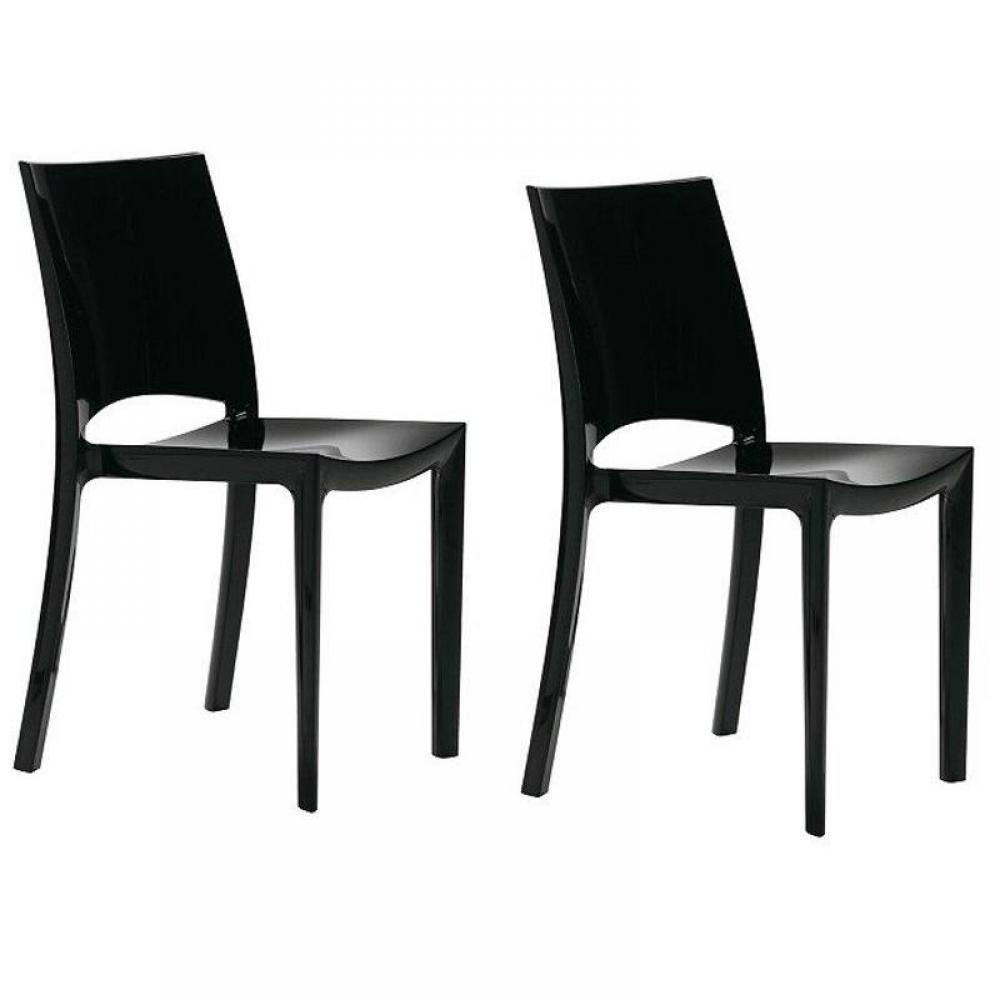 chaises tables et chaises lot de 2 chaises sunshine empilables design noir brillant inside75. Black Bedroom Furniture Sets. Home Design Ideas