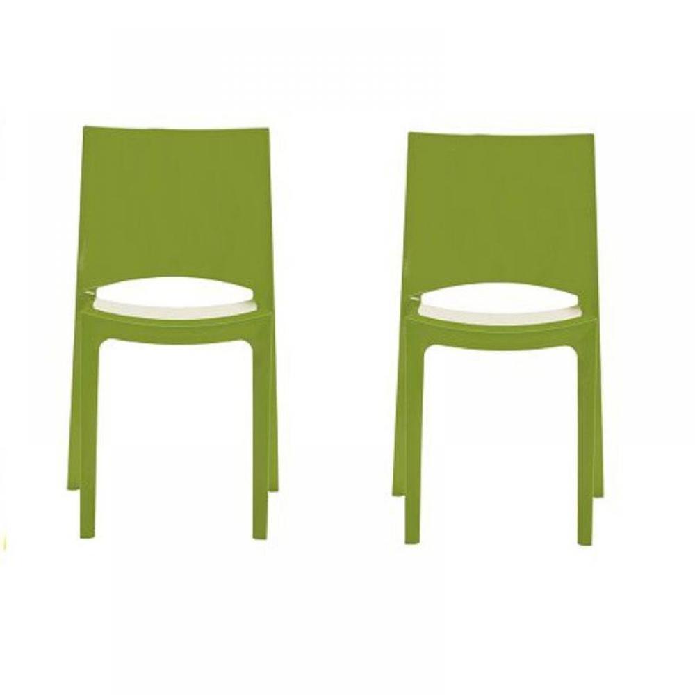 Chaises tables et chaises lot de 2 chaises sunshine empilables design vert - Chaises empilables design ...