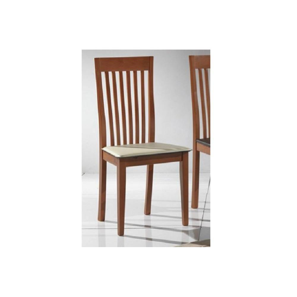Chaises tables et chaises chaise tema merisier assise en for Chaise cuir blanc