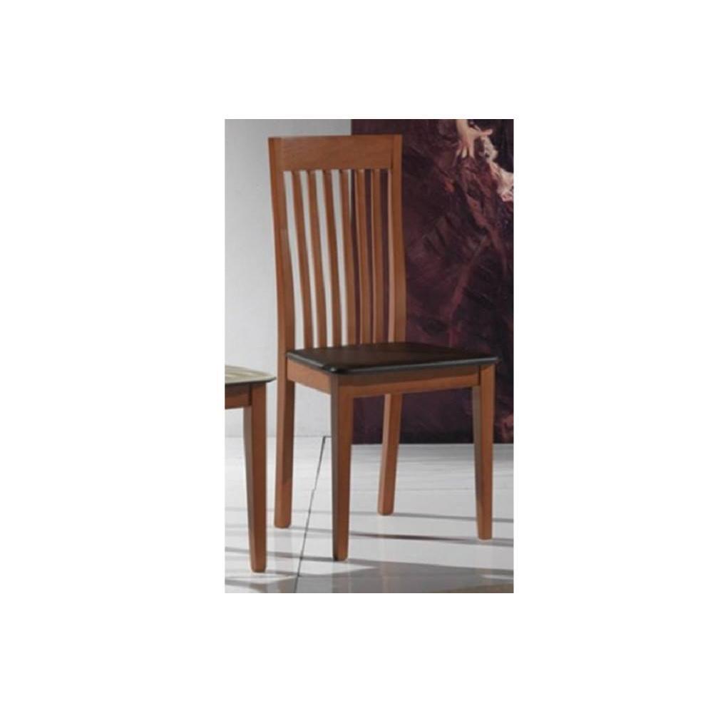 chaises tables et chaises chaise tema merisier assise en cuir brun fonc inside75. Black Bedroom Furniture Sets. Home Design Ideas