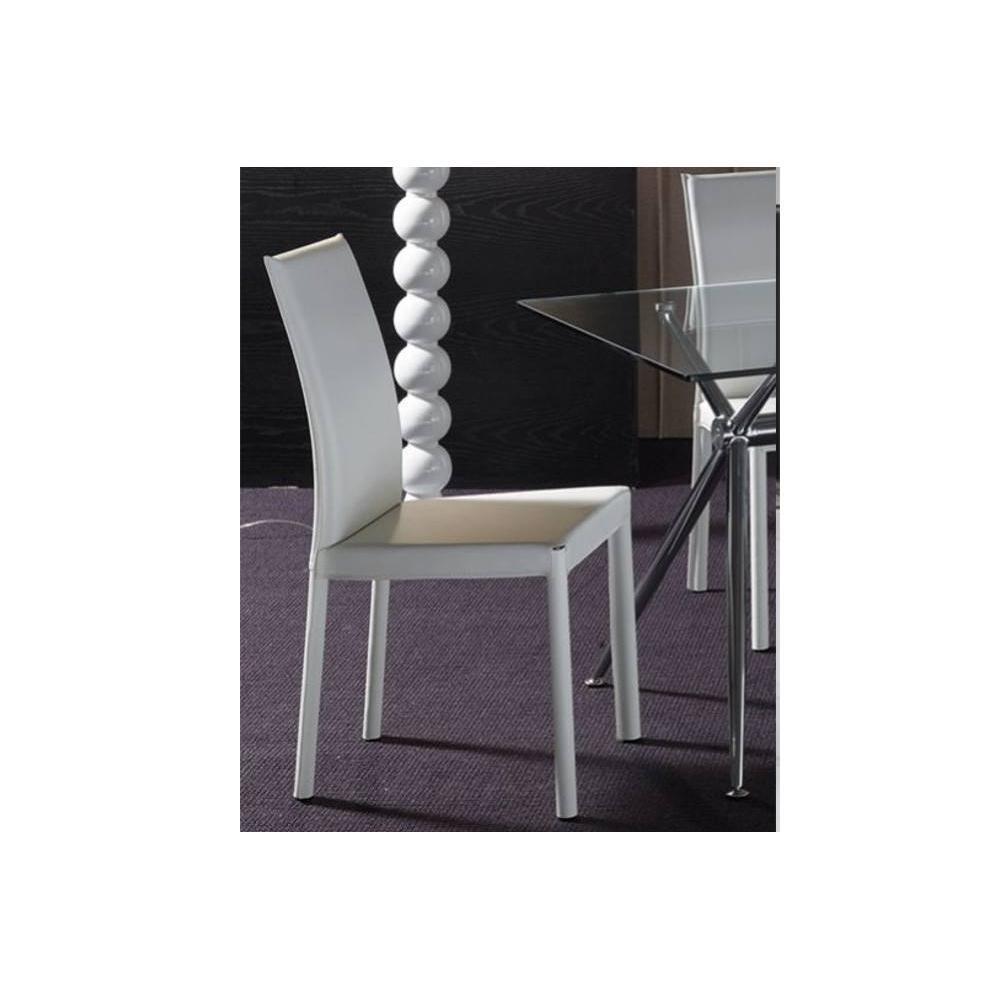 Chaises tables et chaises chaise tower en tissu enduit polyur thane simili - Tissu simili cuir blanc ...