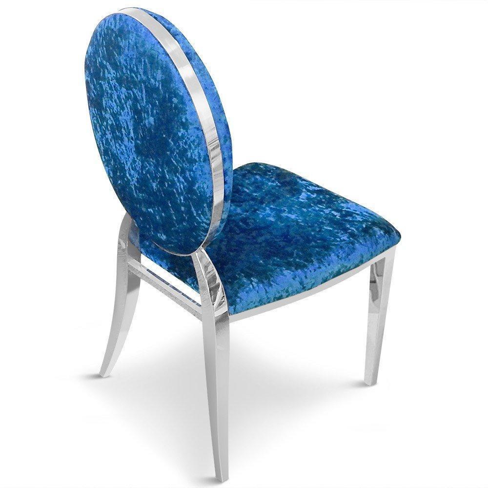 chaises tables et chaises lot de 2 chaises cassandra en velours bleu inside75. Black Bedroom Furniture Sets. Home Design Ideas