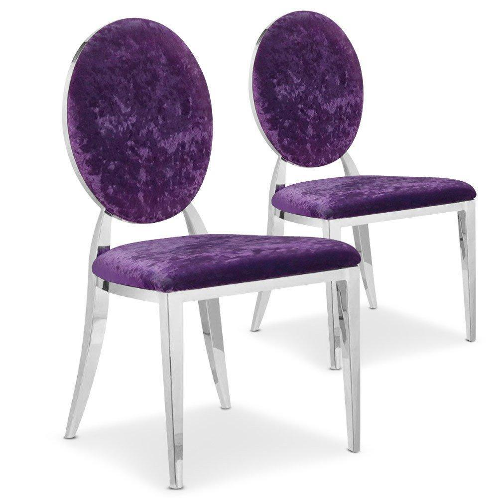 chaises tables et chaises lot de 2 chaises cassandra en velours violet. Black Bedroom Furniture Sets. Home Design Ideas