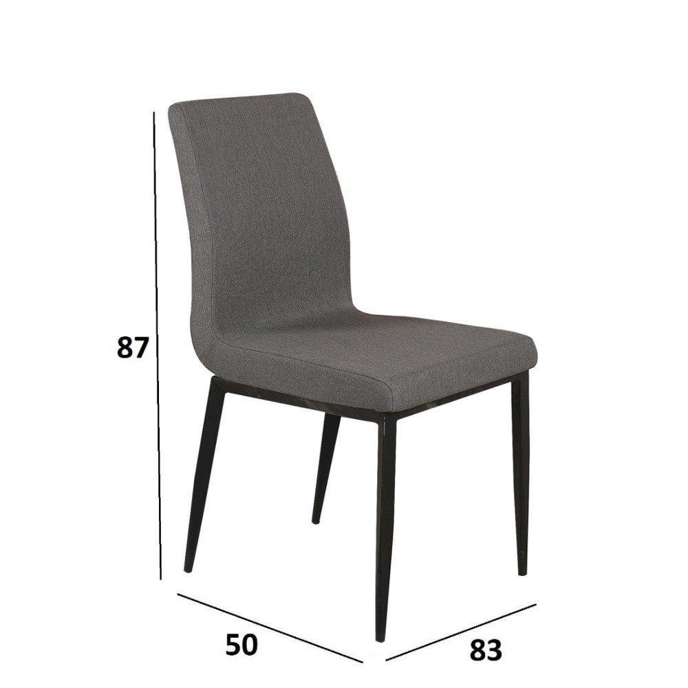 Chaises tables et chaises chaise vip design tissu gris for Chaise en tissu noir
