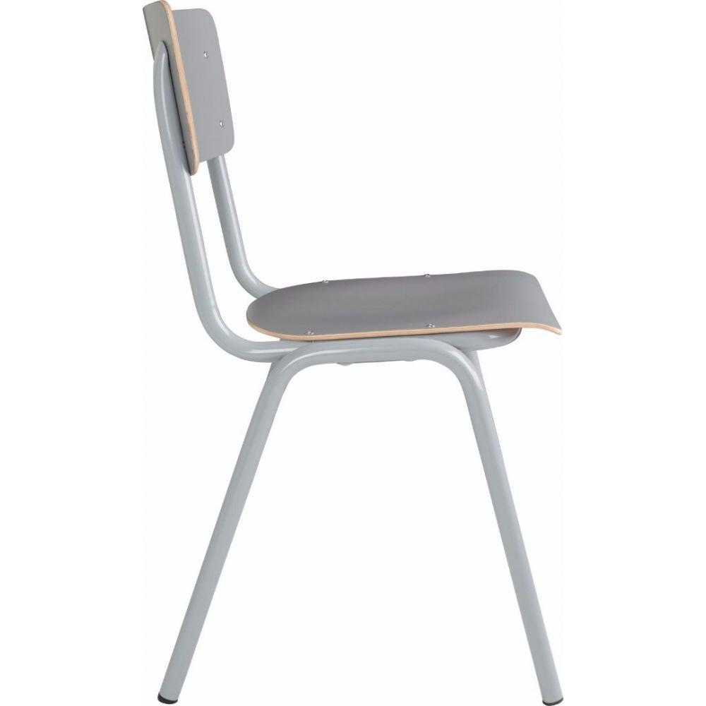Chaises tables et chaises zuiver chaise back to school grise inside75 for Chaise zuiver