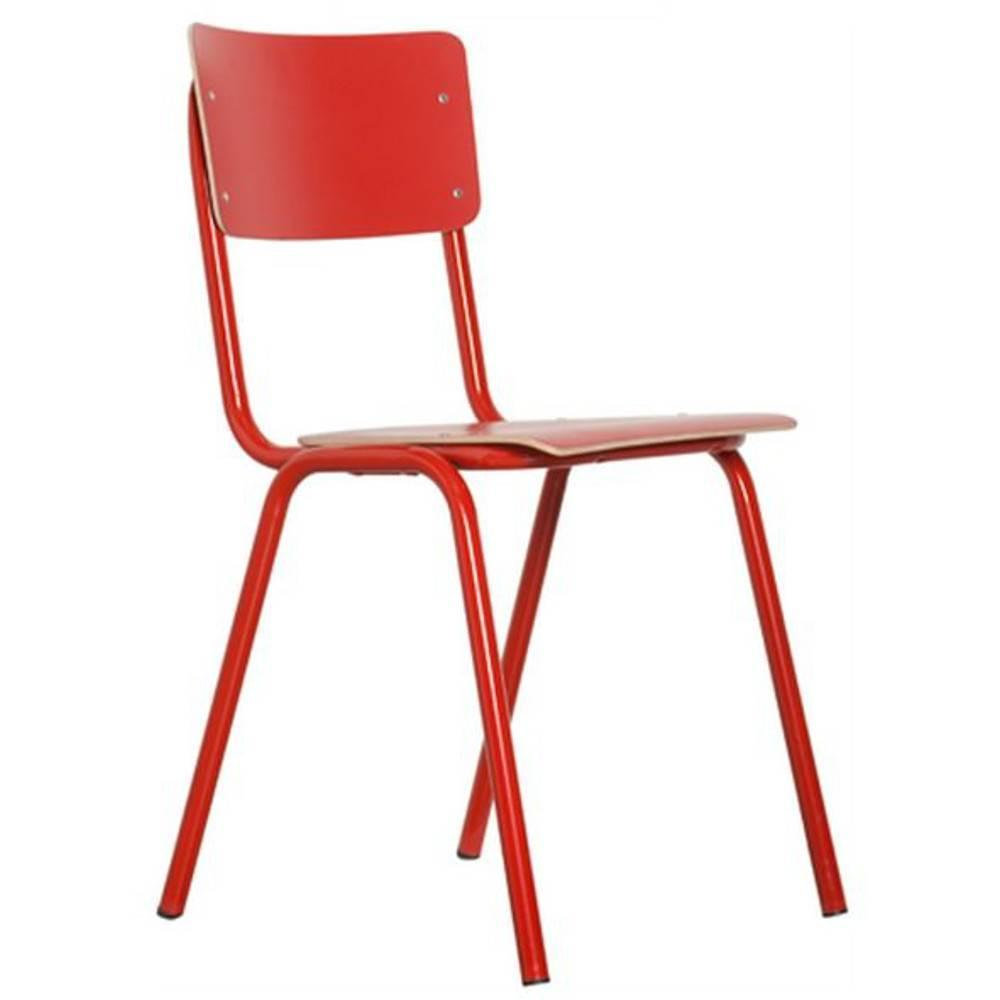 Chaises tables et chaises zuiver chaise back to school rouge for Chaise zuiver