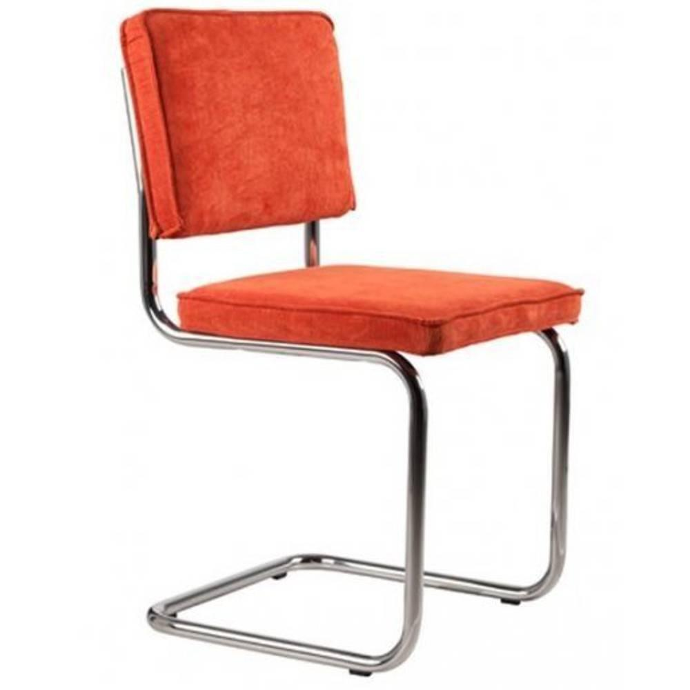 Chaises tables et chaises zuiver chaise ridge rib assise velours avec cadre chrom inside75 for Chaise zuiver