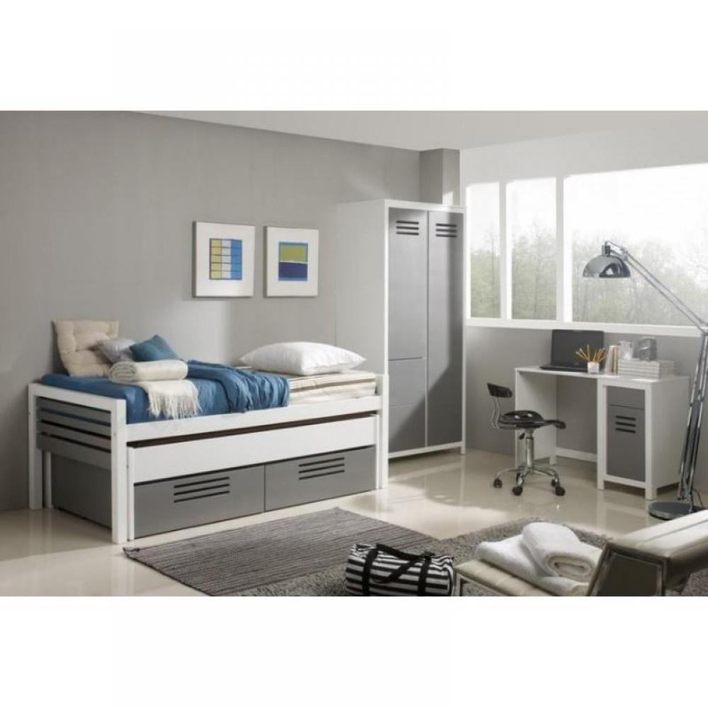 Chambre enfant chambre literie marlone ensemble chambre d 39 enfant blanc et argent couchage for Chambre blanc gris et rouge