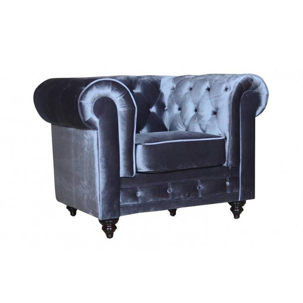 chaises meubles et rangements fauteuil fixe chesterfield elite en velours gris capitonn. Black Bedroom Furniture Sets. Home Design Ideas