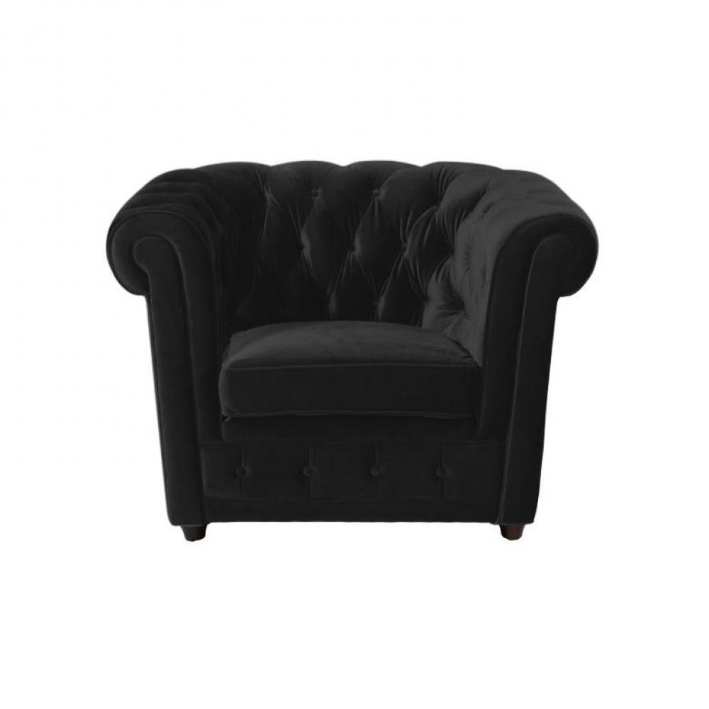canap s chesterfield canap s et convertibles fauteuil chesterfield deluxe en velours noir. Black Bedroom Furniture Sets. Home Design Ideas