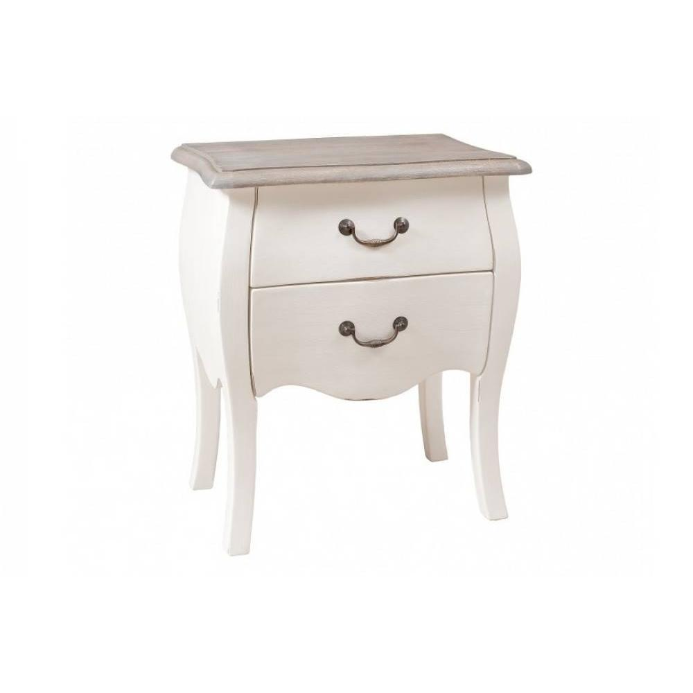 chevets meubles et rangements chevet baroque londres 2 tiroirs coloris blanc en manguier. Black Bedroom Furniture Sets. Home Design Ideas