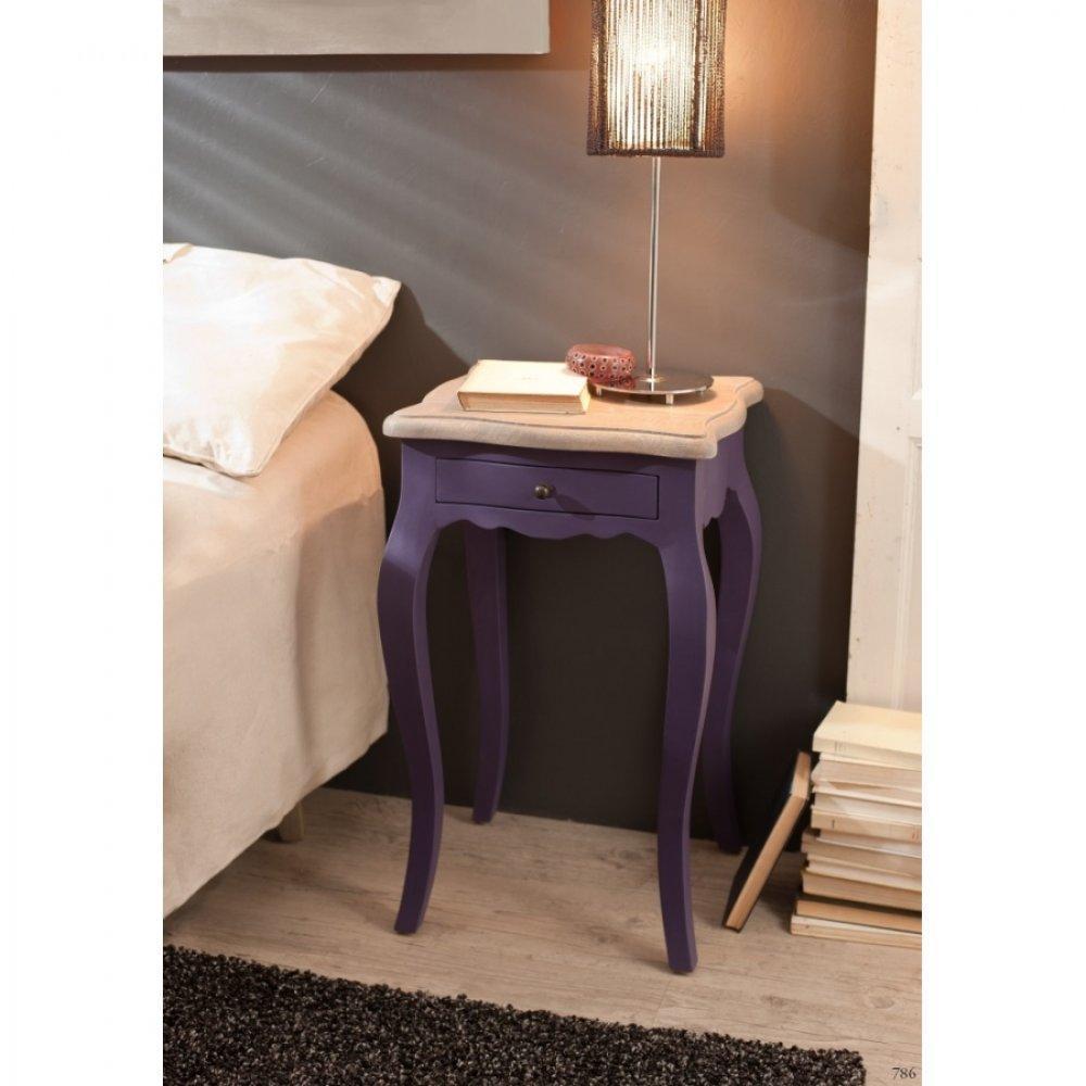 chevets meubles et rangements chevet baroque 1 tiroir geneve violet en manguier inside75. Black Bedroom Furniture Sets. Home Design Ideas