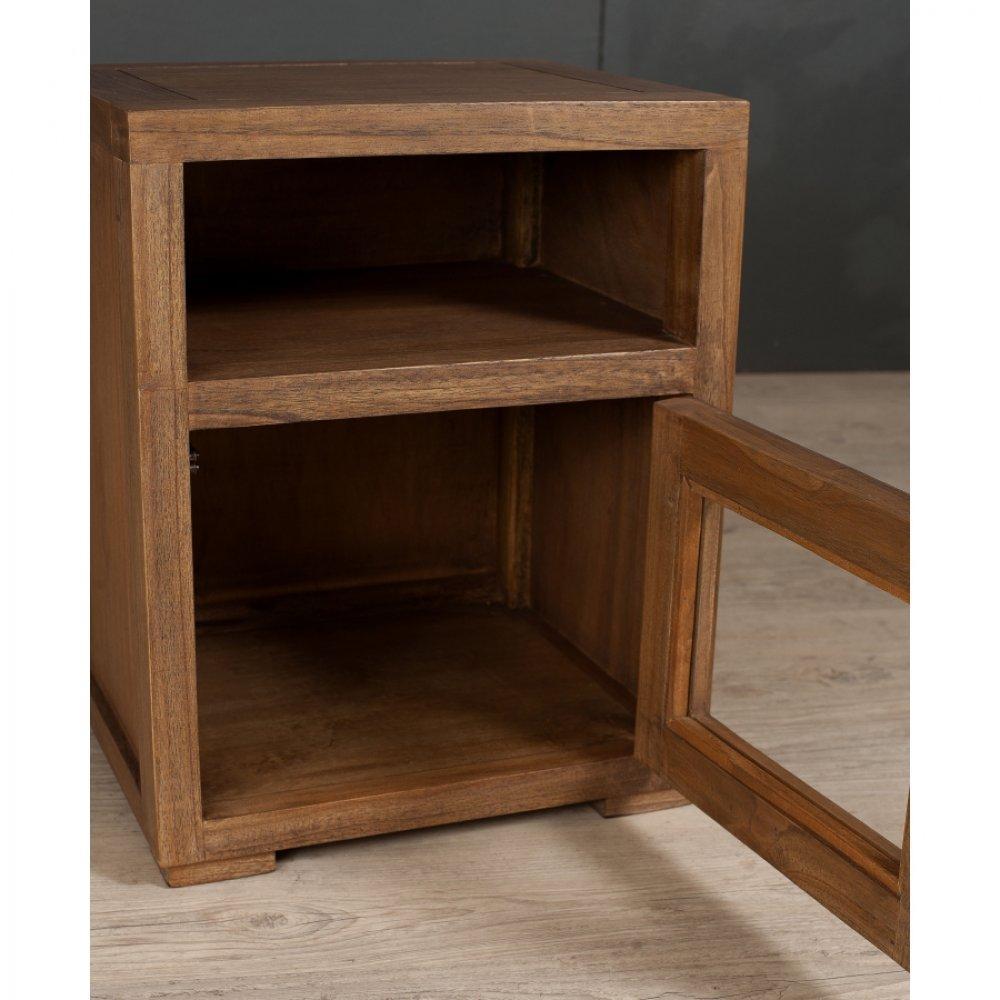 chevets meubles et rangements lauren chevet 1 niche 1 porte vitr e en teck style colonial. Black Bedroom Furniture Sets. Home Design Ideas