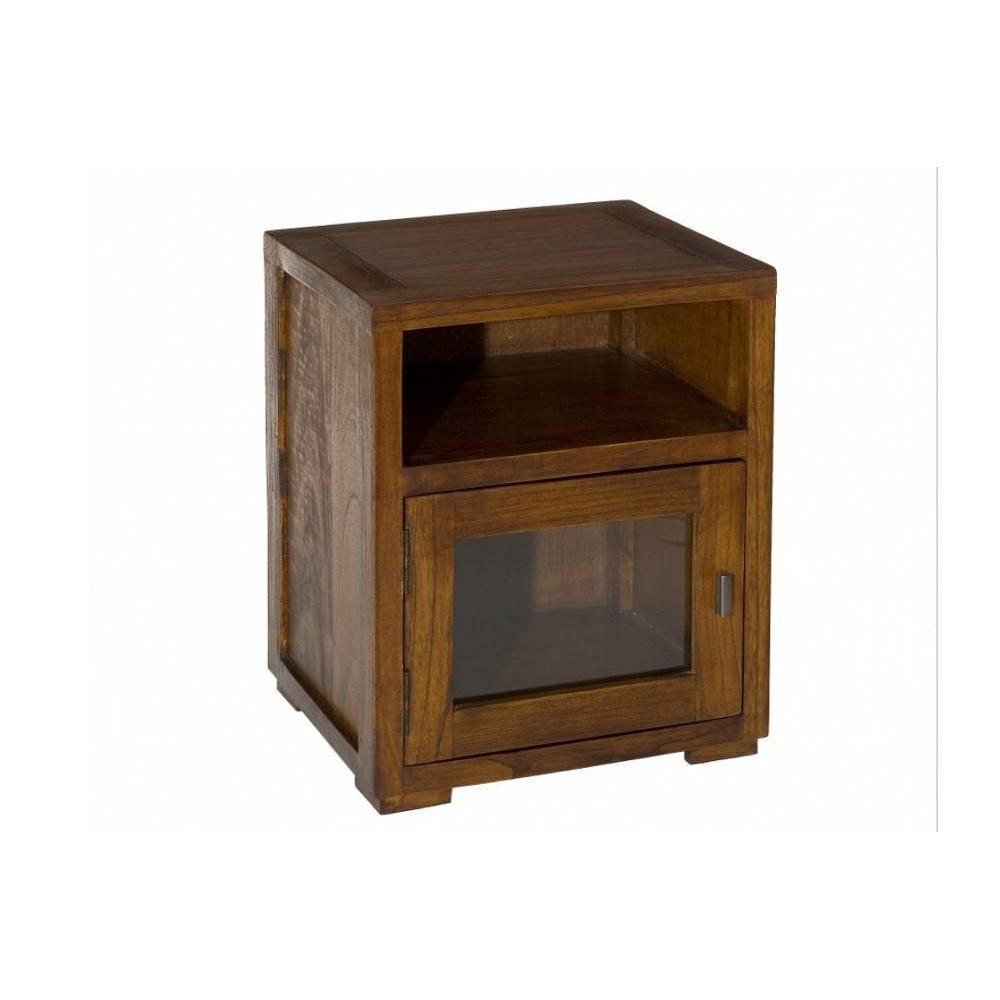 chevets meubles et rangements chevet lauren 1 niche 1 porte vitr e en teck style colonial. Black Bedroom Furniture Sets. Home Design Ideas