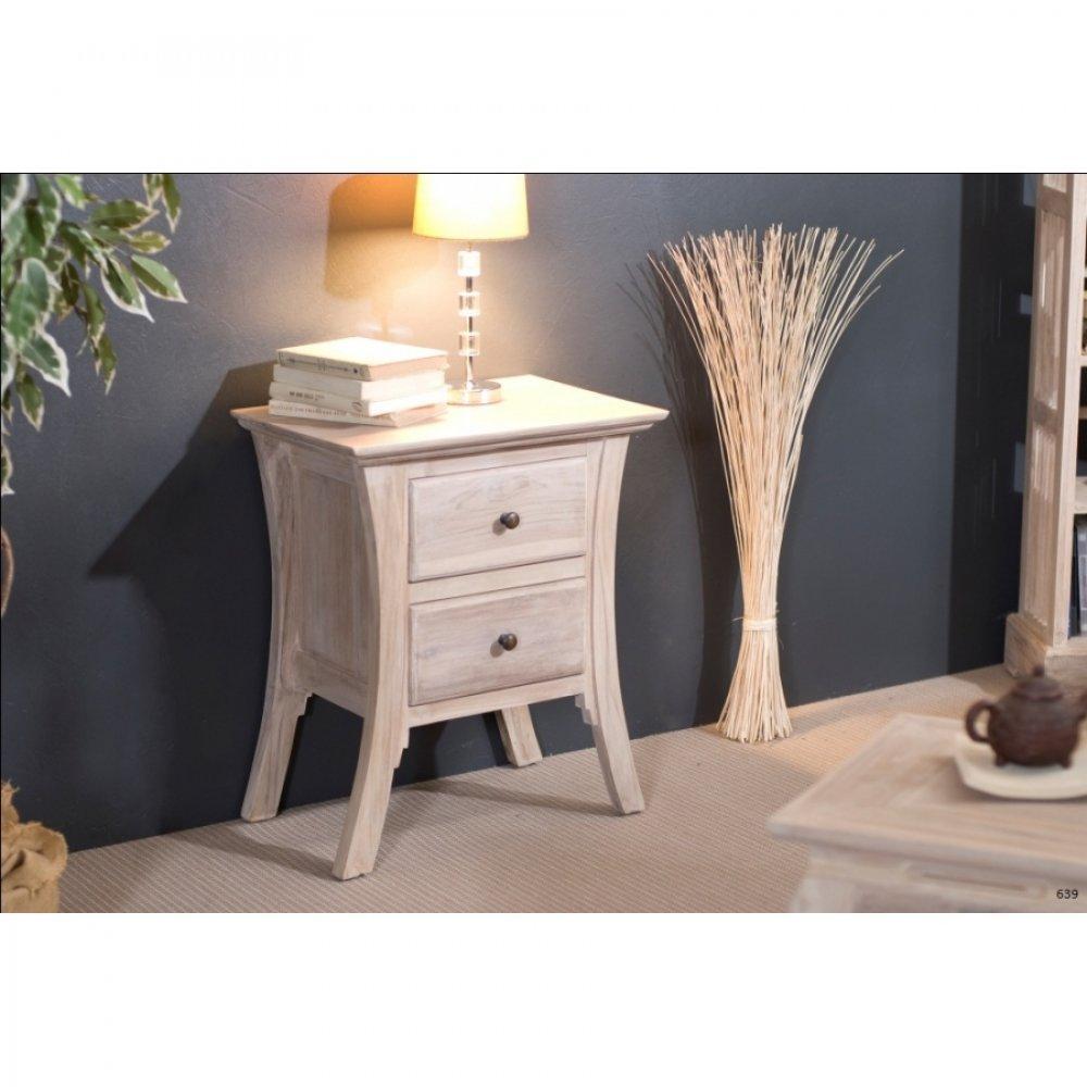 chevets meubles et rangements chevet japonais ines 2 tiroirs en teck blanchi style colonial. Black Bedroom Furniture Sets. Home Design Ideas