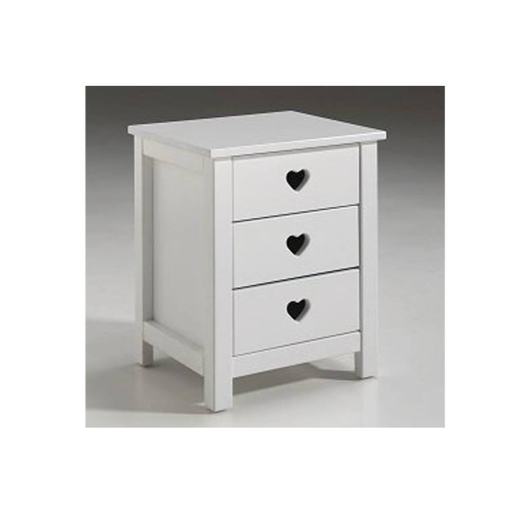 chevets meubles et rangements chevet mensa blanc 3 tiroirs inside75. Black Bedroom Furniture Sets. Home Design Ideas