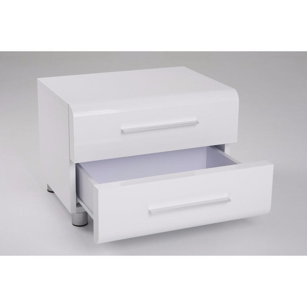 chevets meubles et rangements chevet 2 tiroirs sakura blanc brillant inside75. Black Bedroom Furniture Sets. Home Design Ideas