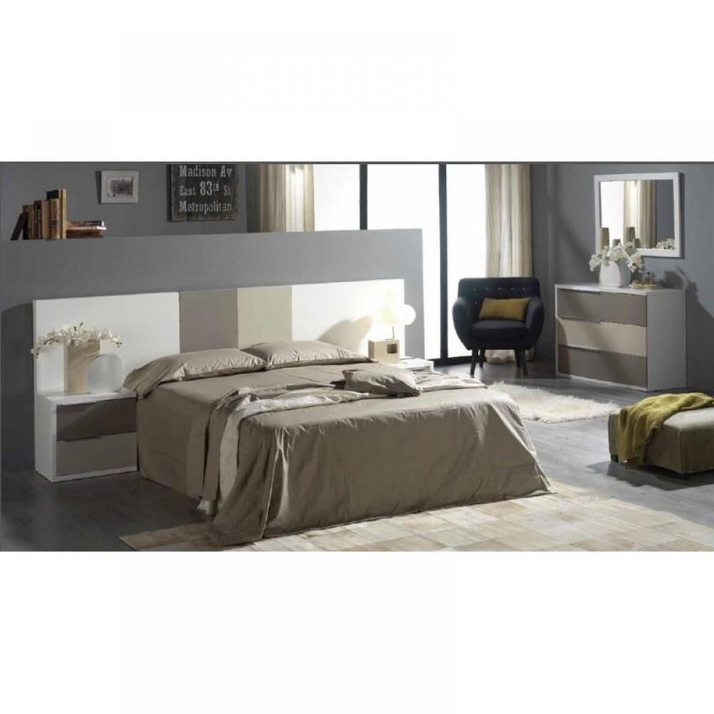 Chevets meubles et rangements chevets vigo blanc 2 tiroirs gris et taupe po - Chambre taupe et gris ...