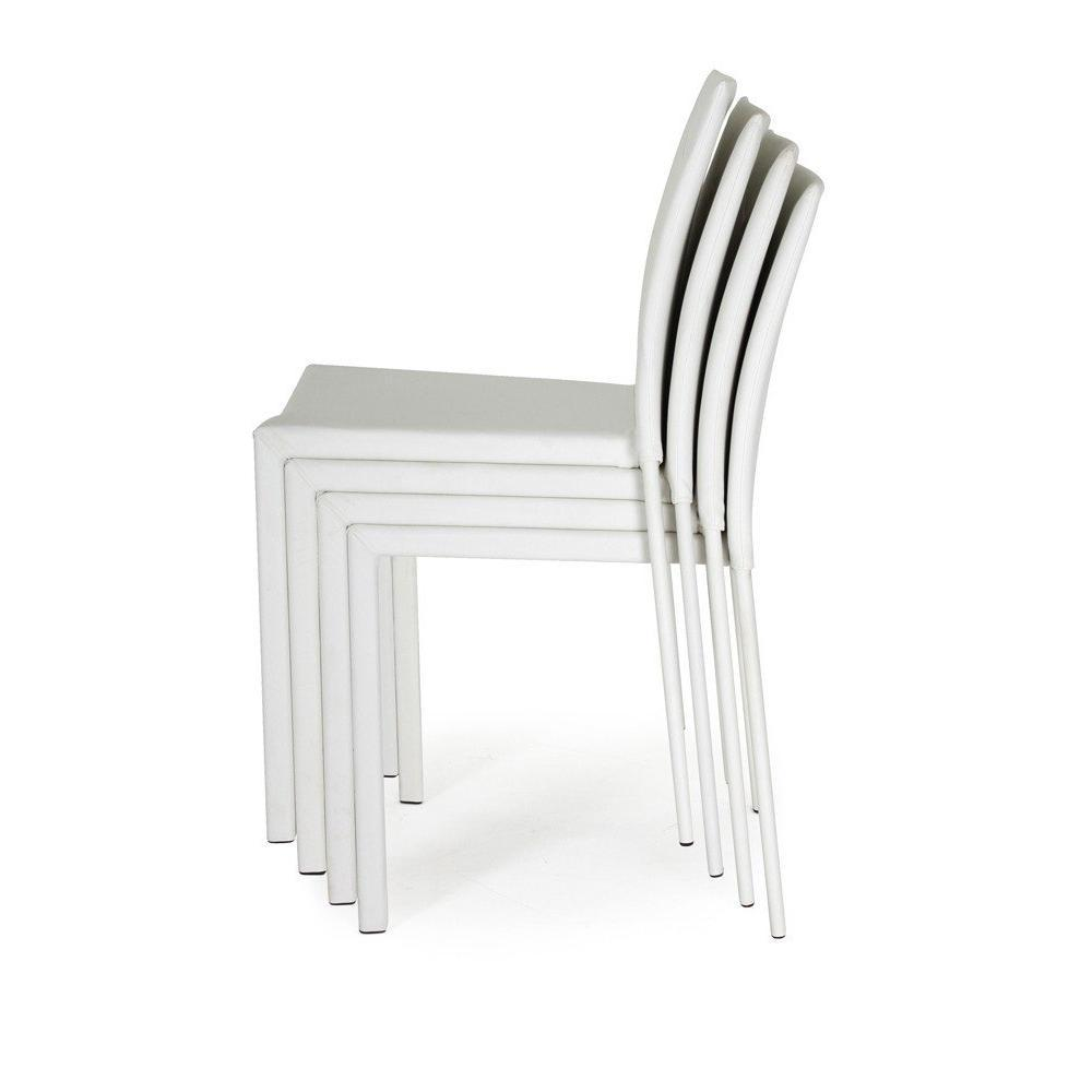 Chaises tables et chaises lot de 4 chaises empilables for Chaise design dsw blanche blanc