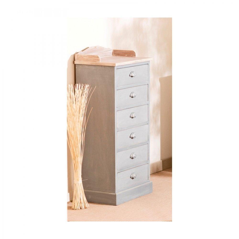 Chiffonniers meubles et rangements chiffonnier 6 tiroirs cassie en bois gri - Chiffonnier 6 tiroirs ...