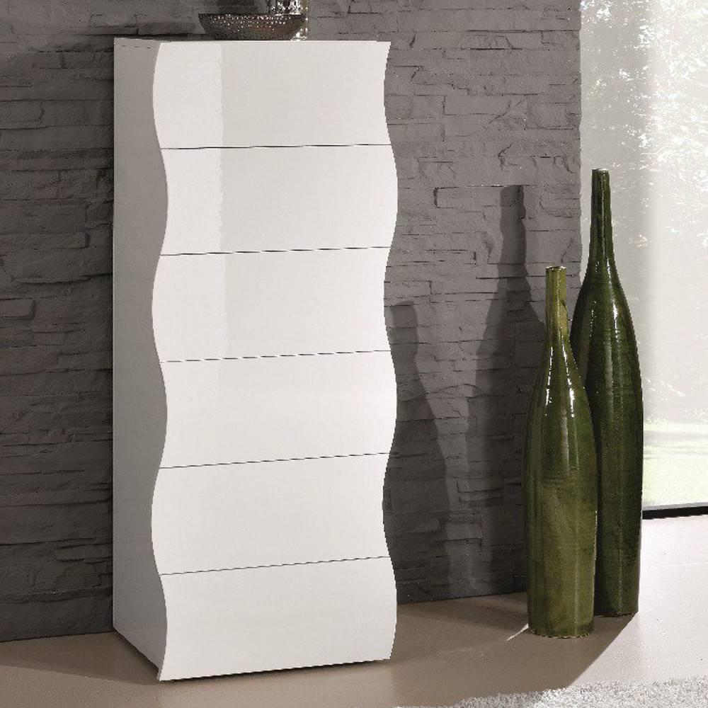 chiffonniers meubles et rangements chiffonnier onda 6 tiroirs blanc brillant inside75. Black Bedroom Furniture Sets. Home Design Ideas
