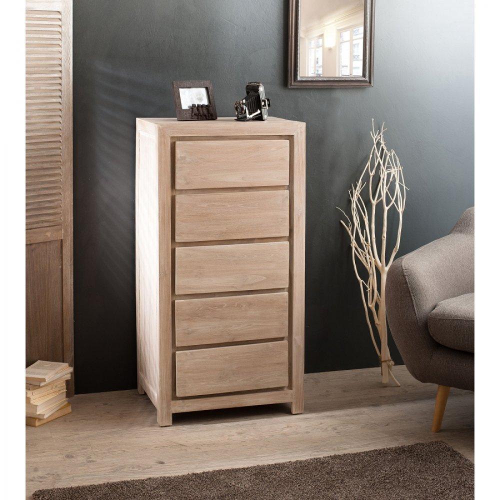 chiffonniers meubles et rangements chiffonnier moderne 5 tiroirs en teck blanchi style. Black Bedroom Furniture Sets. Home Design Ideas