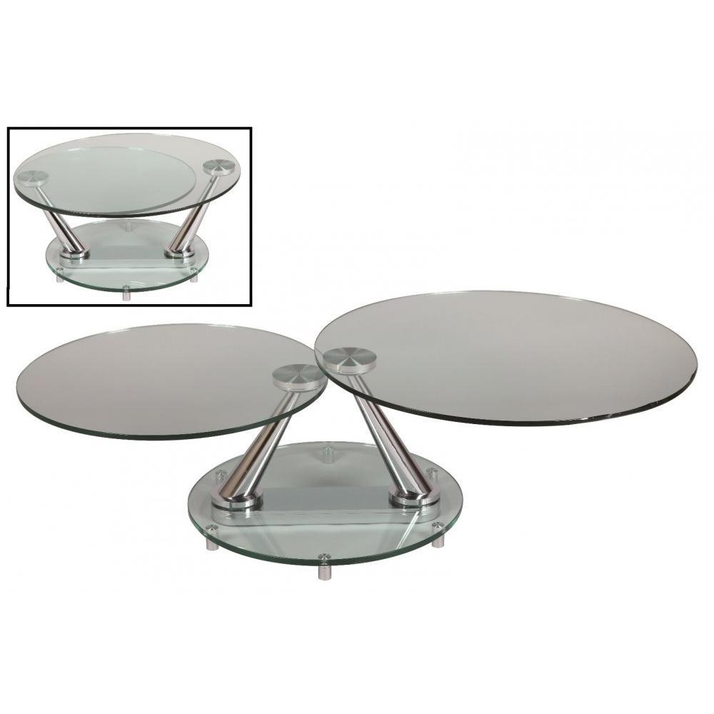 Tables basses tables et chaises table basse design circle ronde double plat - Table basse en verre ronde ...