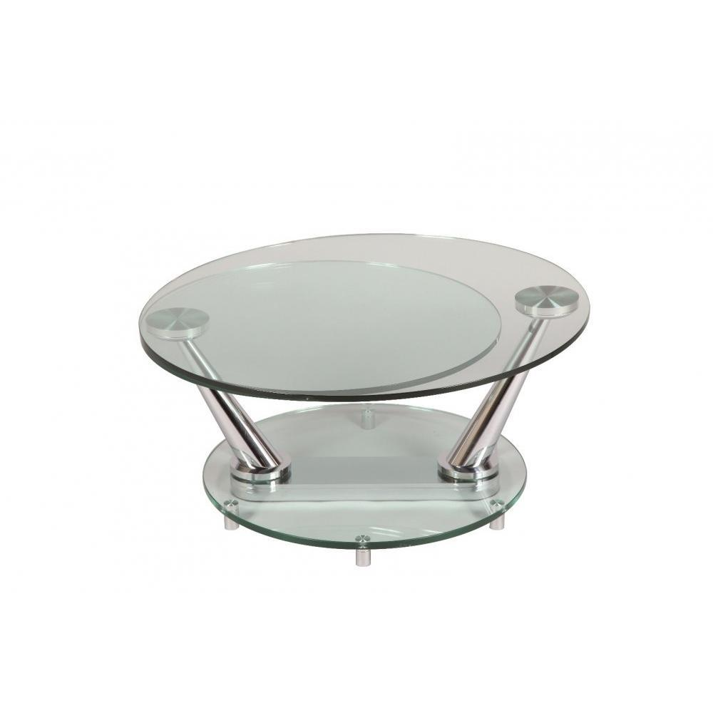 Table basse en verre ronde modulable for Table ronde en verre avec 4 chaises