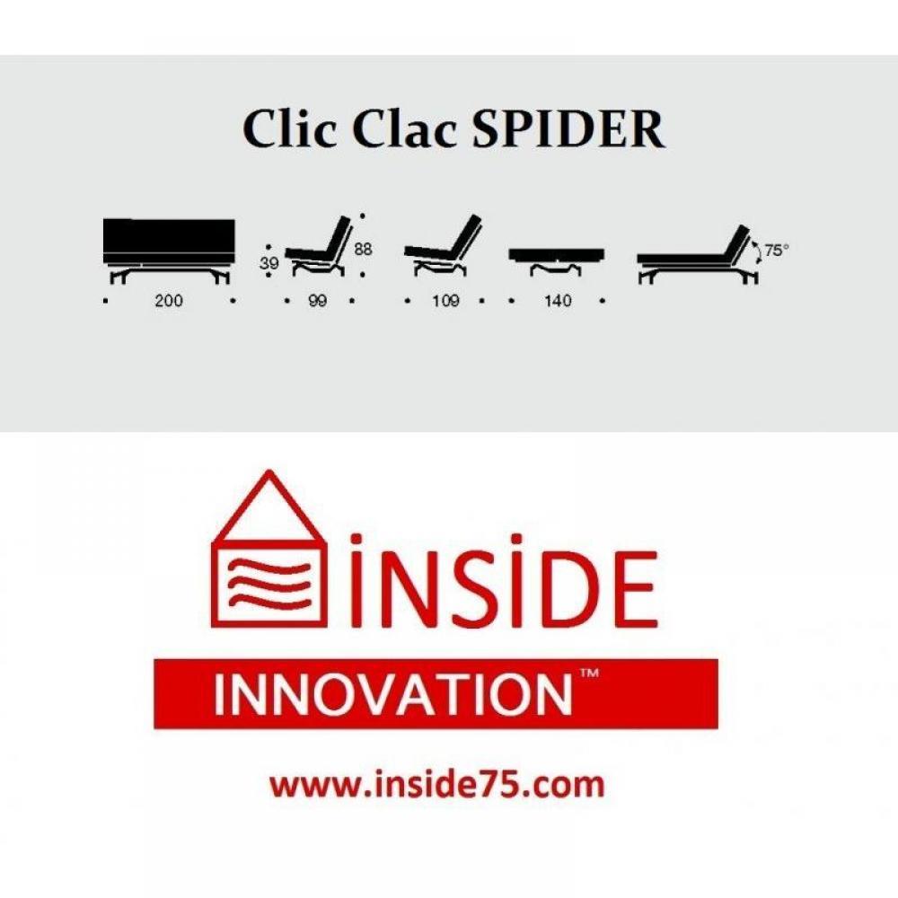 Canap lit clic clac design spider gris capiton convertible 200 140cm - Clic clac de qualite ...