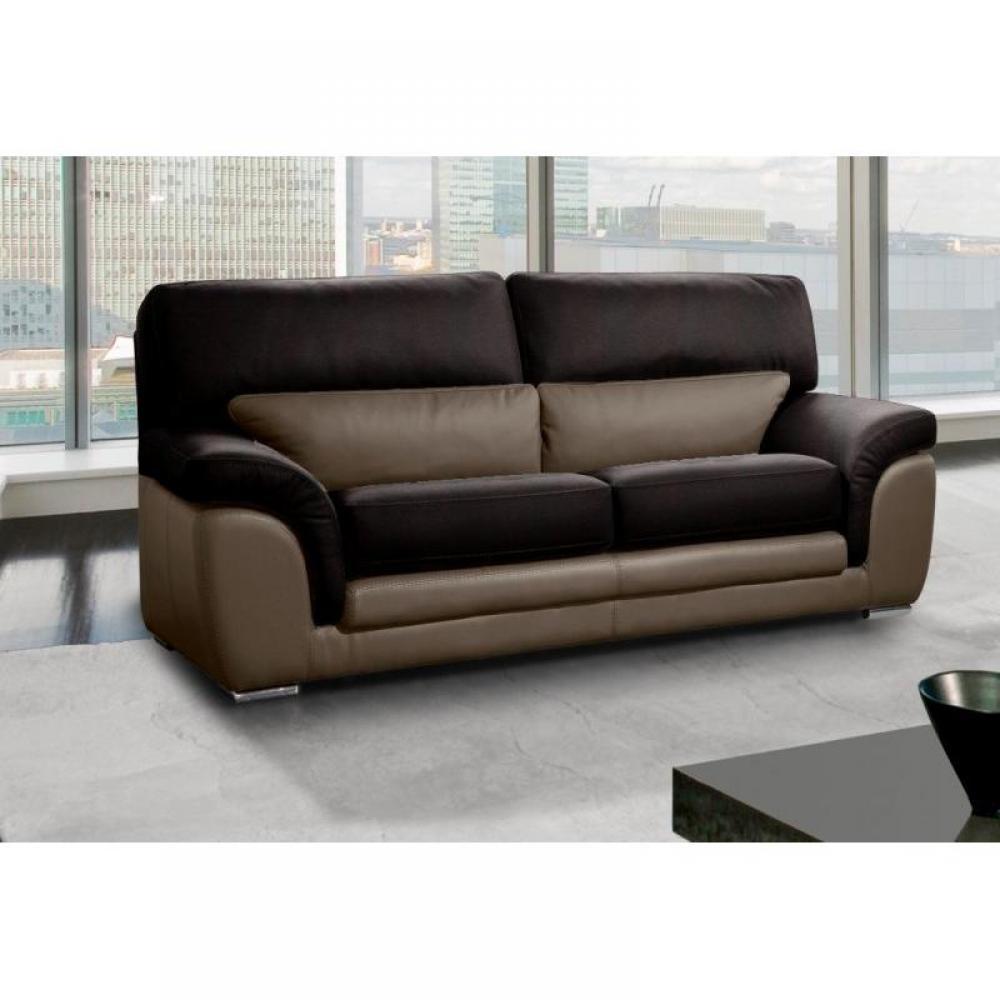 canap s fixes canap s et convertibles cloe canap cuir 3 places marron et taupe inside75. Black Bedroom Furniture Sets. Home Design Ideas