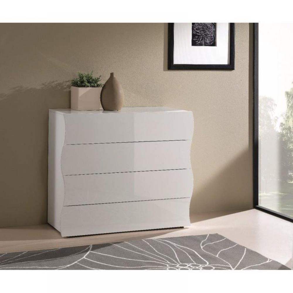 Commodes meubles et rangements commode onda 4 tiroirs blanc brillant ins - Commode 4 tiroirs blanc ...