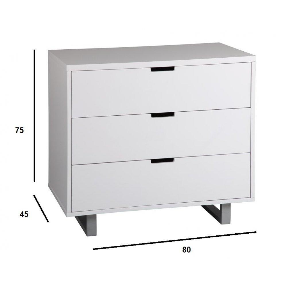 Commodes meubles et rangements commode azur blanche 3 tiroirs inside75 - Commode laque blanche ...