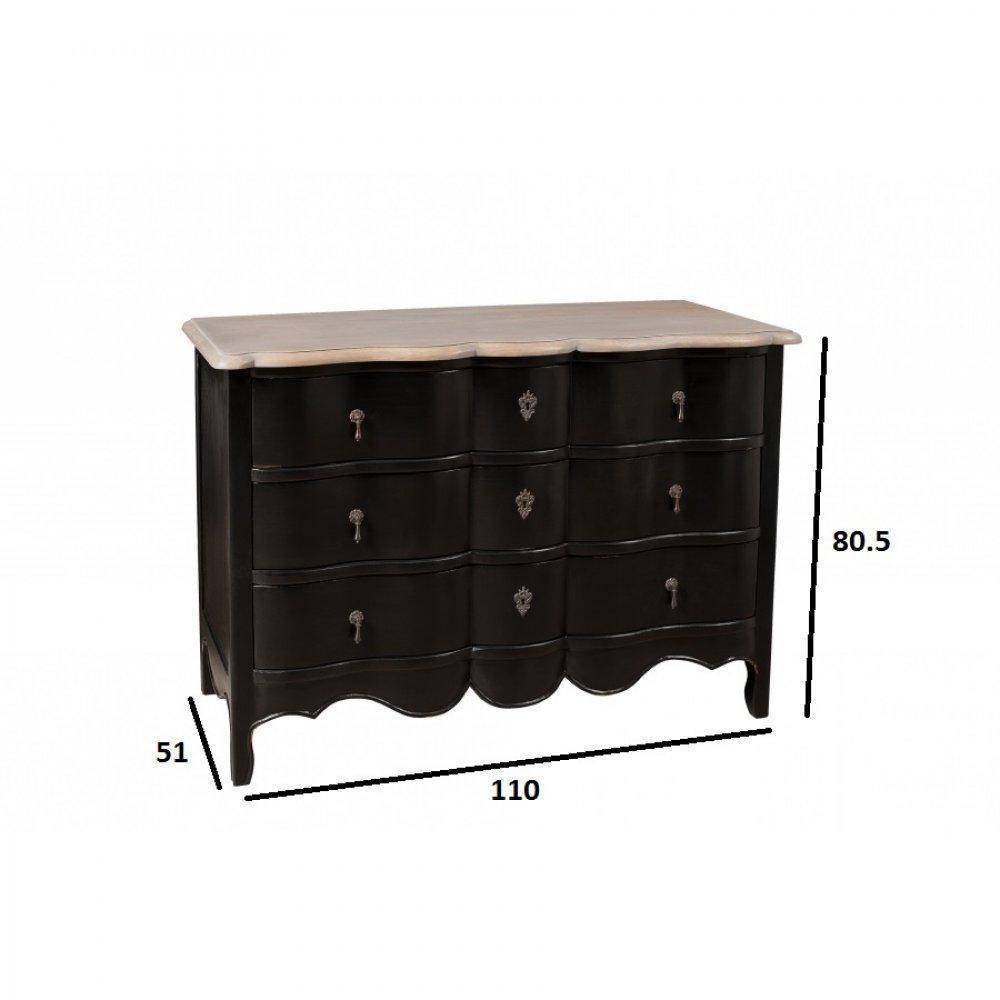 commodes meubles et rangements console baroque madrid 3 tiroirs coloris noir en manguier. Black Bedroom Furniture Sets. Home Design Ideas
