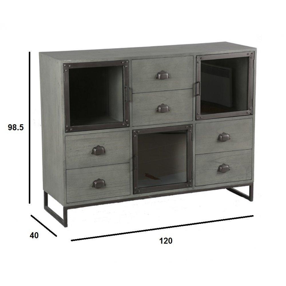 commodes meubles et rangements commode industry c rus gris avec 6 tiroirs et 3 portes style. Black Bedroom Furniture Sets. Home Design Ideas