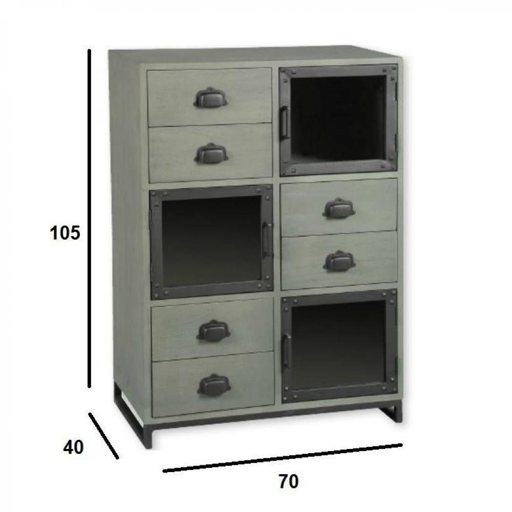 commodes meubles et rangements commode industry c rus gris avec 6 tiroirs et 3 portes inside75. Black Bedroom Furniture Sets. Home Design Ideas