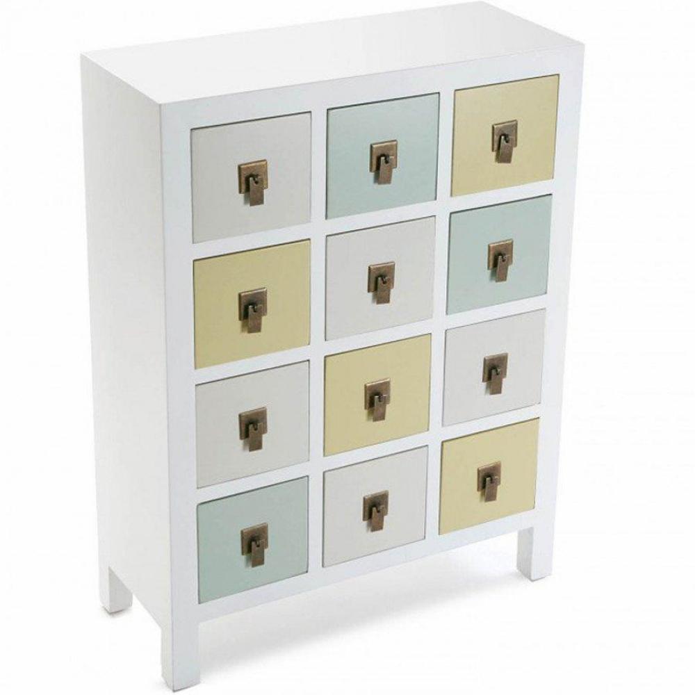 commodes meubles et rangements commode otantik blanc style collonial 12 tiroirs inside75. Black Bedroom Furniture Sets. Home Design Ideas
