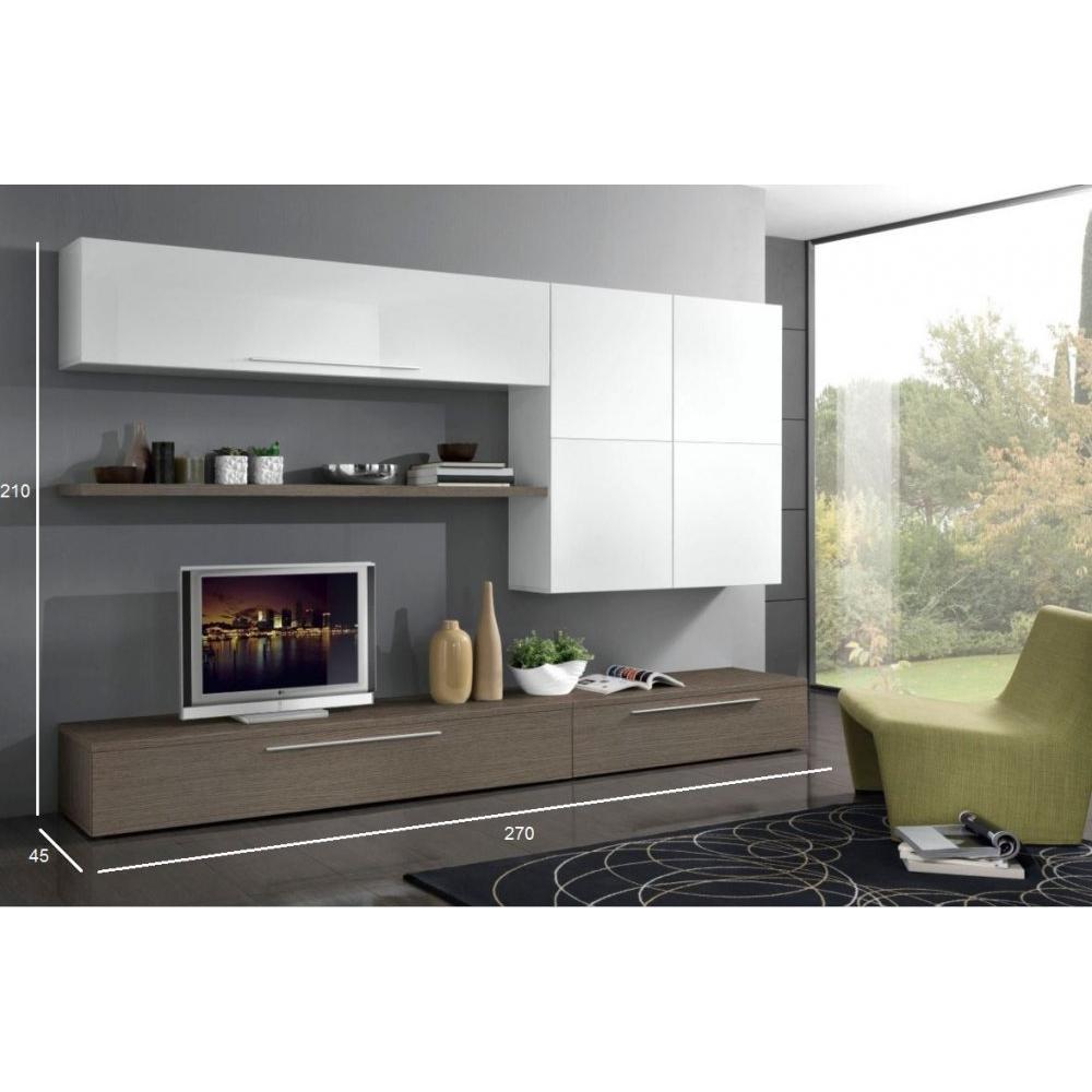 ensemble mural tv meubles et rangements composition murale tv design primavera noyer. Black Bedroom Furniture Sets. Home Design Ideas