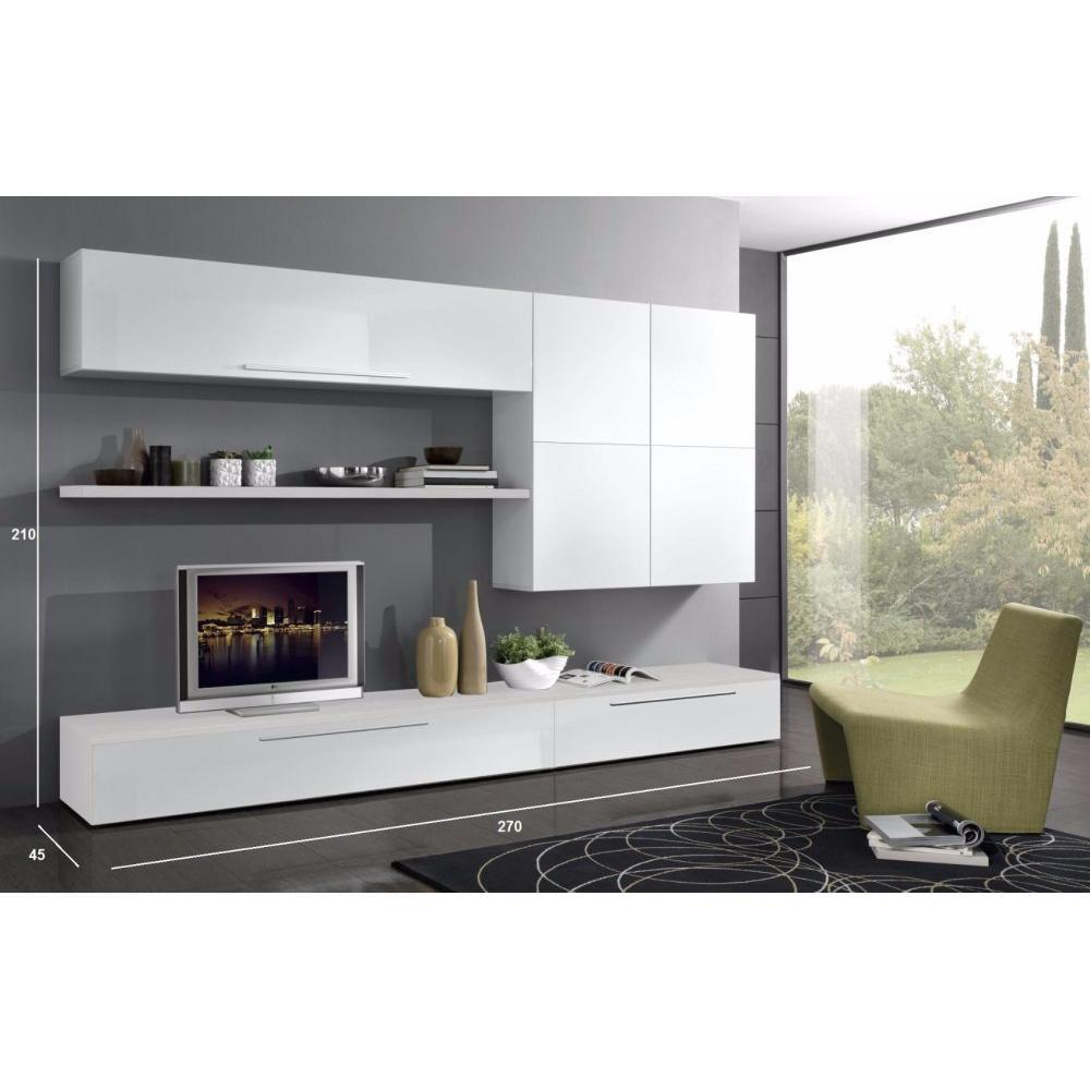 meubles tv meubles et rangements composition murale tv design primavera blanche inside75. Black Bedroom Furniture Sets. Home Design Ideas