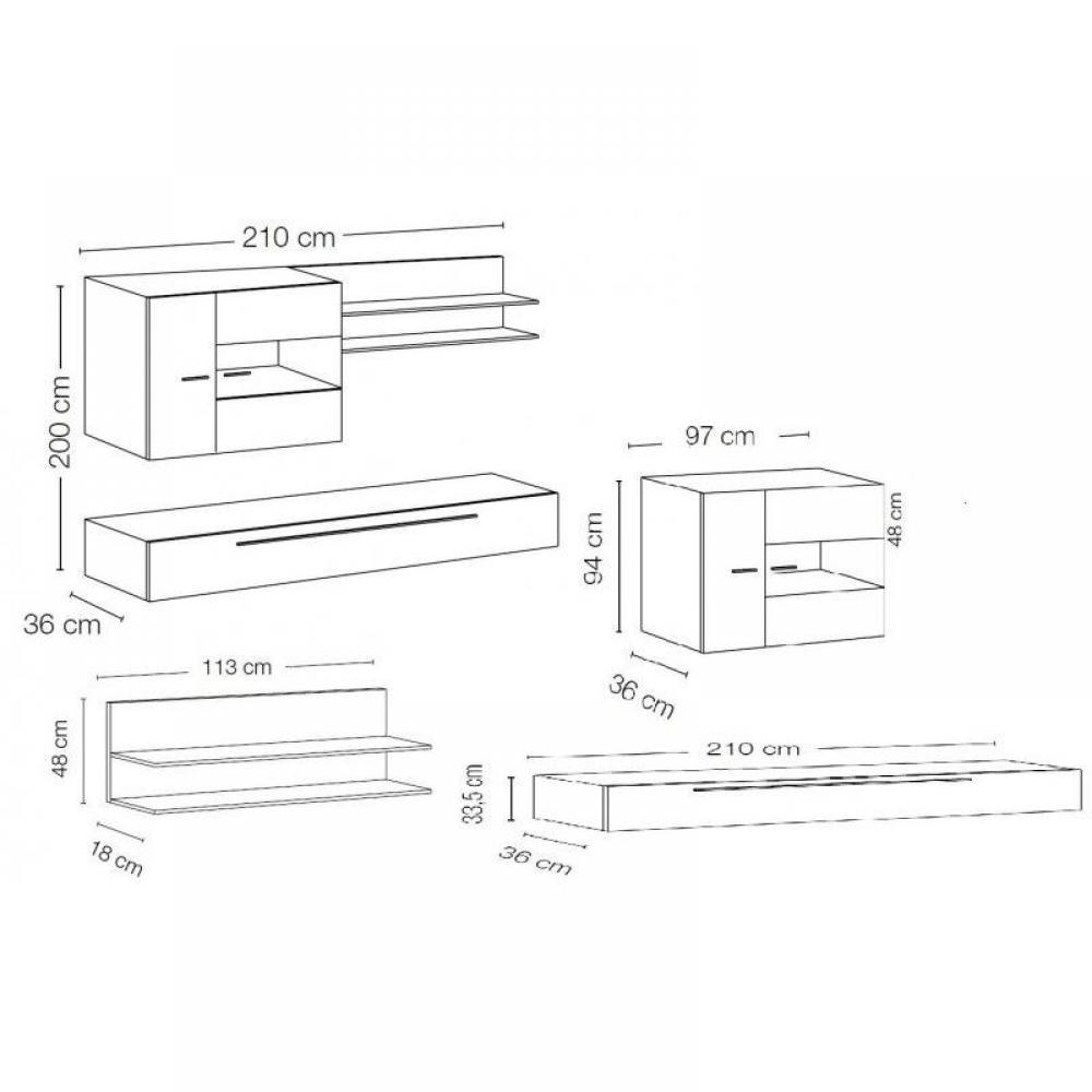 ensemble mural tv meubles et rangements composition murale tv design primera 2 blanc et noir. Black Bedroom Furniture Sets. Home Design Ideas