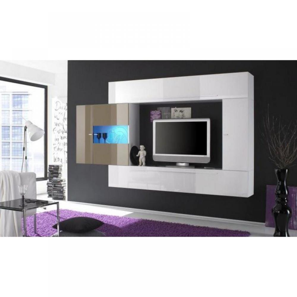 meubles tv meubles et rangements composition murale tv design primera 4 blanc et ecru inside75. Black Bedroom Furniture Sets. Home Design Ideas