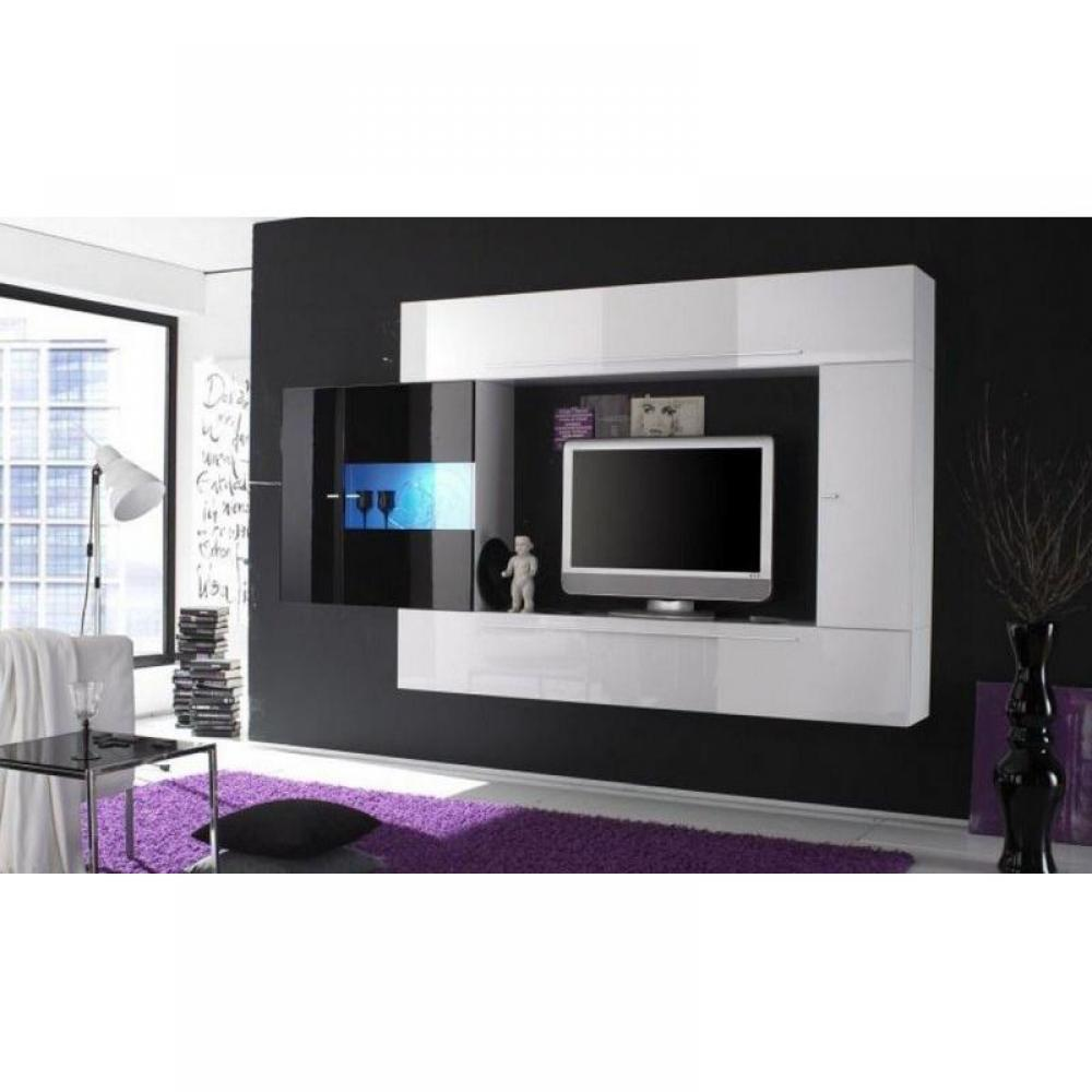 ensemble mural tv meubles et rangements composition murale tv design primera 4 blanc et noir. Black Bedroom Furniture Sets. Home Design Ideas